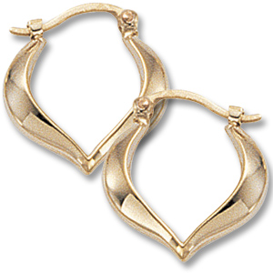Gold Earrings - 14K Yellow Gold Medium Heart Shaped Hoop Earrings  Made in the USA