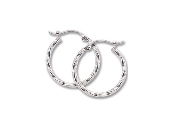 Gold Earrings - 14k White Gold Twisted Tube Hoop Earrings  Made in the USA