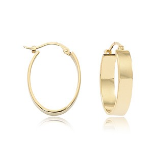 Gold Earrings - 14k Yellow Gold 4x14mm Flat Tube Hoop Earring  Made in the USA