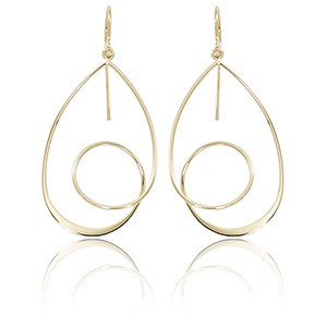 Gold Earrings - 14k 2-Tone Gold Single Spiral Drop Earring with Sheppard Hook Backs  Made in the USA