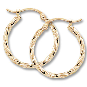 Gold Earrings - 14k Yellow Gold Twist Hoop Earrings  Measurements: 0.08