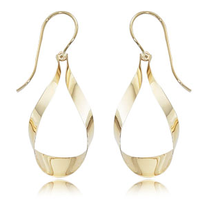Gold Earrings - 14k Gold Single Ribbon Drop Earring with Sheppard Hook Backs  Made in the USA
