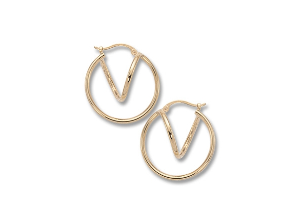 Gold Earrings - 14k Yellow Gold Large and Small Double Tube Hoop Earring  Made in the USA
