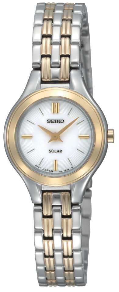 Women's Watch - Seiko Core Collection Lady's Solar Watch  2-Tone Stainless Case and Bracelet 12 Month Power Reserve When Fully Charged Water-resistant to 3 bar, 30 meters (100 Feet) Valiber V115