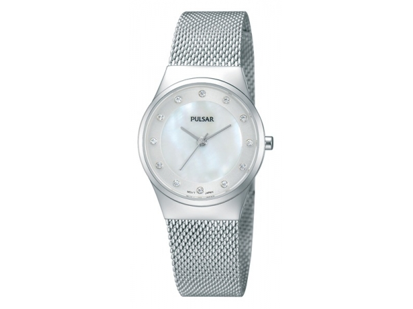 Women's Watch - Pulsar Ladies Watch  Stainless Steel Case & Mesh Bracelet Clasp Bracelet  White Mother of Pearl Dial Swarovski Crystal Hour Markers Mineral Crystal 30 Meters Water Resistant