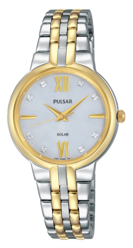 Women's Watch - Pulsar Ladies Solar Quartz Watch  4 Month Power Reserve  2-Tone Stainless Steel Case & Bracelet Push Button Foldover Deployment Clasp Silver Toned Dial with Swarovski Crystal Markers Mineral Crystal 30 Meters Water Resistant
