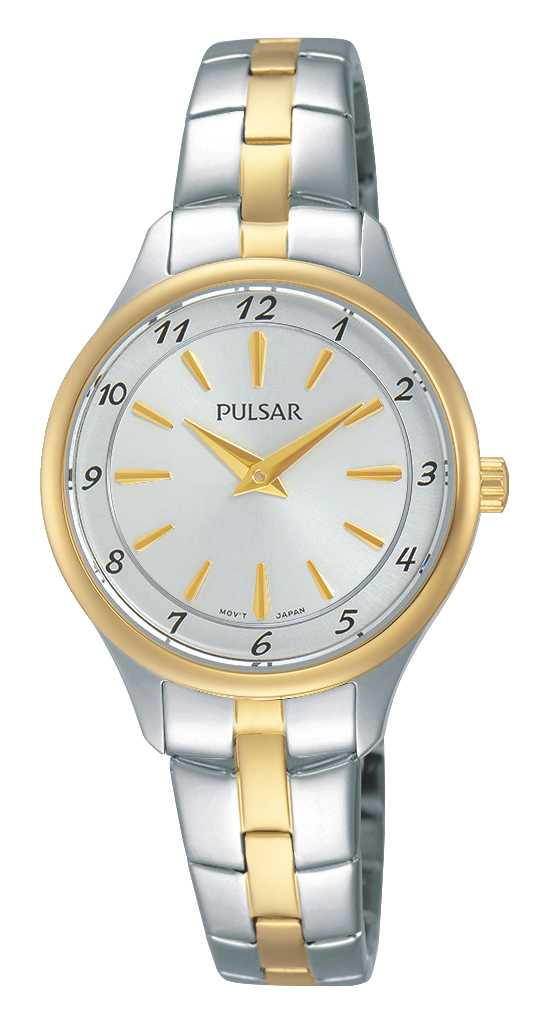 Women's Watch - Pulsar Ladies Quartz Watch   2-Tone Stainless Steel Case & Bracelet Push Button Foldover Deployment Clasp Silver Toned Dial with Full Number Markers Mineral Crystal 30 Meters Water Resistant