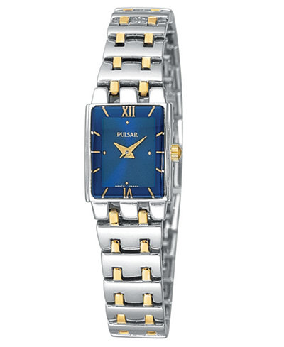 Women's Watch - Pulsar Ladies Quartz Watch  2-Tone Stainless Steel Case & Bracelet Foldover Clasp Blue Dial Mineral Crystal 30 Meters Water Resistant