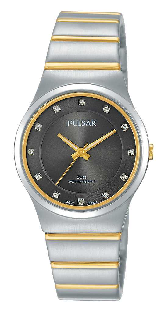Women's Watch - Pulsar Ladies Quartz Watch  2-Tone Stainless Steel Case & Bracelet Push Button Foldover Deployment Clasp Black Toned Dial with Swarovski Crystal Markers Mineral Crystal 50 Meters Water Resistant