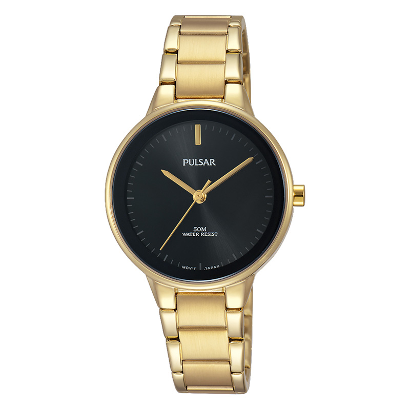 Women's Watch - Pulsar Ladies Quartz Watch   Gold Toned Stainless Steel Case & Bracelet Push Button Foldover Deployment Clasp Black Toned Dial  Mineral Crystal 50 Meters Water Resistant