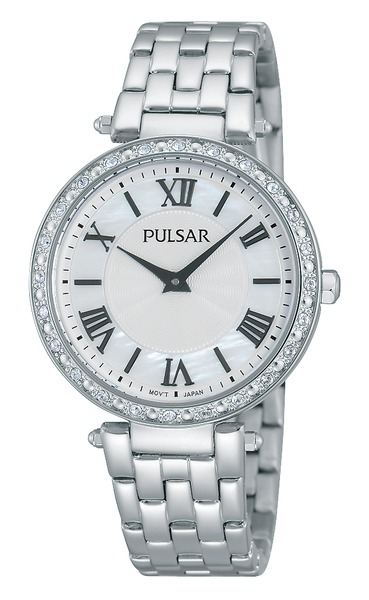 Women's Watch - Pulsar Ladies Quartz Watch  Stainless Steel Case & Bracelet Push Button Foldover Deployment Clasp Crystal Accented Bezel White Mother of Pearl Dial with Black Roman # Mineral Crystal 50 Meters Water Resistant