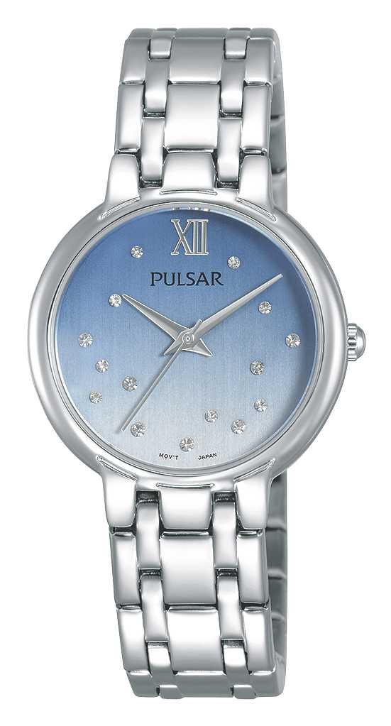 Women's Watch - Pulsar Ladies Quartz Watch  Stainless Steel Case & Bracelet Push Button Foldover Deployment Clasp Light Blue & Silver Crystal Accented Dial Mineral Crystal 30 Meters Water Resistant