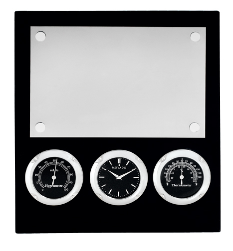 Clock - Movado Clock Black Engravable Plaque With Removable Easel Displays Time, Temperature And Hygrometer