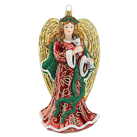 Holiday - Reed & Barton Christmas Reflections Angel with Bell Ornament       The Christmas Reflections Angel with Bell Ornament from Reed & Barton is beautifully handmade of fine glass     From the Christmas Reflections Collection     Handmade and hand-painted in Europe     Ideal gift for the collector     Gift boxed     Glass     Measures 7