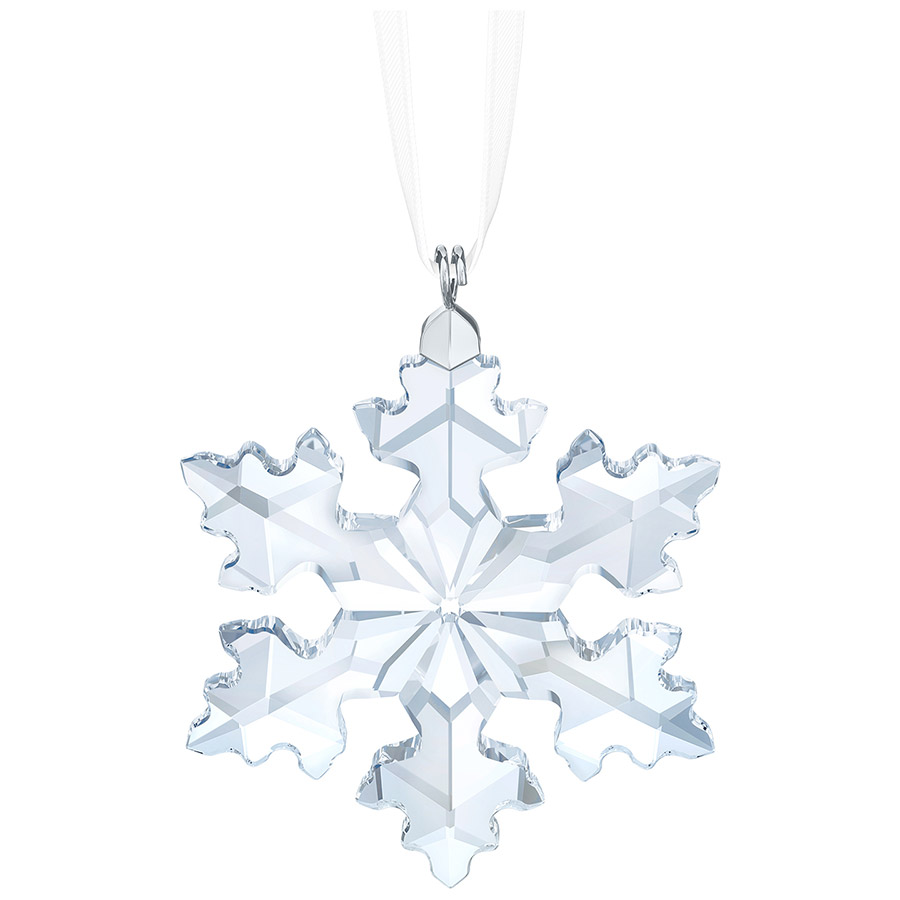 Holiday Giftware - Swarovski Little Snowflake Annual Edition 2016    This delicate snowflake ornament is a smaller version of Swarovski's beautiful Annual Edition Christmas Ornament, which is celebrating its 25th anniversary this year. Sparkling in clear crystal, the Little Snowflake Ornament hangs on a white satin ribbon and is only available in 2016. Display several together on your Christmas tree or in a window for extra impact. Decoration object. Not a toy. Not suitable for children under 15.      Size: 1 7/