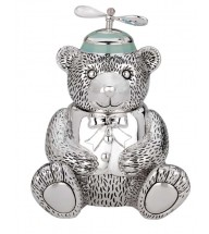 Baby - Silver Plated Boy Bear with Propeller Beanie Bank Give saving a whirl with this adorable bank. Our little boy bear sports a blue beanie with propeller that really spins. The perfect gift for any little saver, this bank is richly detailed and lavishly sil