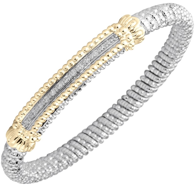 Vahan Diamond Bangle Bracelet - Vahan Sterling Silver and 14k Gold Bangle Bracelet with (11) Round Brilliant Cut Diamonds Set in Beaded Rectangular Center Bar 0.17ct tw G-H, SI1  6.0mm  MADE IN THE USA