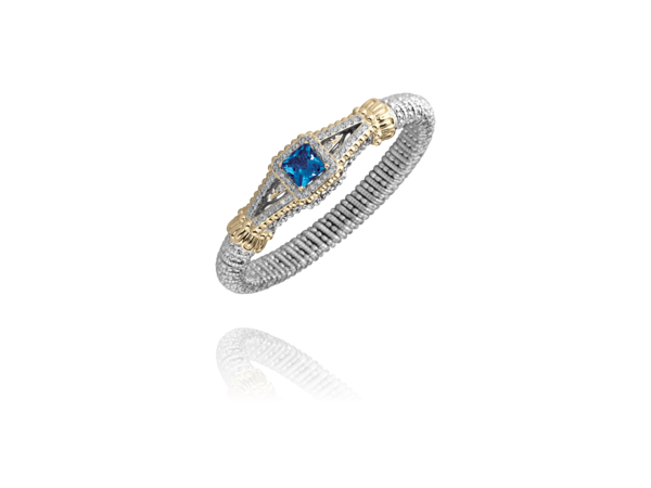 Alwand Vahan Fashion Jewelry - Vahan Sterling Silver & 14k Yellow Gold Checker Board Faceted London Blue Topaz Four Prong set with (46) .46ct tw Round Brilliant Cut Diamonds Micro Pave Set 8mm Bracelet  Made in the USA  Treatment London Blue Topaz H, R