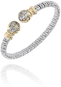 Alwand Vahan Fashion Jewelry - Alwand Vahan Sterling Silver and 14k Gold Bangle Bracelet with (18) Round Brilliant Cut Diamonds Set in Sphere Ends 0.14ct G-H, SI  4mm  MADE IN THE USA