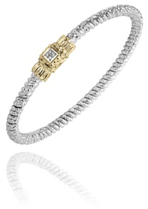 Alwand Vahan Fashion Jewelry - Alwand Vahan Sterling Silver and 14k Gold Bangle Bracelet with (4) Round Brilliant Cut Diamonds Square Plate Design  0.03ct G-H, SI  4mm  MADE IN THE USA