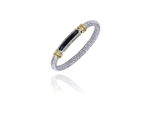 Alwand Vahan Fashion Jewelry - Alwand Vahan Sterling Silver and 14k Gold Bangle Bracelet 6mm (30) 0.23ct G-H, VS2-SI1 Round Brilliant Cut Diamonds Pave Set with Center Cushion Cut Checker Board Faceted Black Onyx  MADE IN THE USA