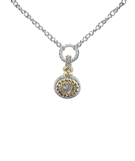 Alwand Vahan Fashion Jewelry - Vahan 14k Gold and Sterling Silver Pendant Set with .07ct tw of Round Brilliant Cut Diamonds