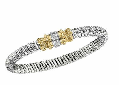 Alwand Vahan Fashion Jewelry - Alwand Vahan Sterling Silver and 14k Gold Bangle Bracelet with (12) Round Brilliant Cut Diamonds Set in Center Bar 0.18ct  6mm  MADE IN THE USA