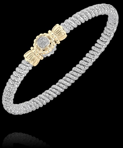 Alwand Vahan Fashion Jewelry - Alwand Vahan Sterling Silver and 14k Gold Bangle Bracelet 4mm (7) .05ct G-H, VS2-SI1 Round Brilliant Cut Diamonds Pave Set with Center Circle Station  MADE IN THE USA
