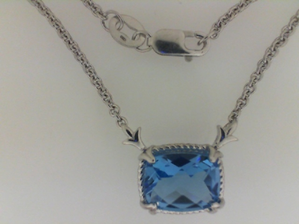 Fine Jewelry - COLORE S~7CG Rhodium Sterling Silver Pendant, Fleur de lis & rope edge detailing, Rectangle Shape Blue Topaz,