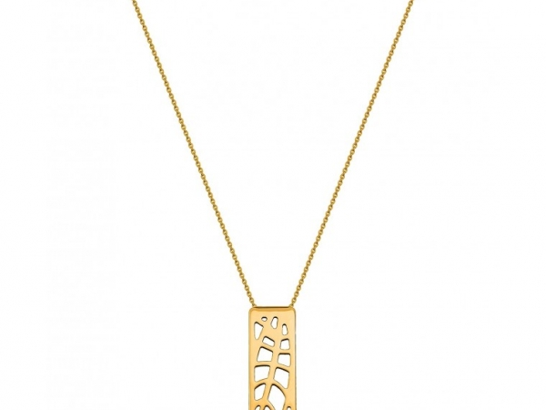 "Fashion Necklaces - LES GEORGETTES ""Fougeres"" Necklace, 60mm Rectangle, 18"" Chain, Gold Finish 7030 - image #2"