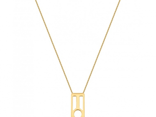 "Fashion Necklaces - LES GEORGETTES ""Infini"" Necklace, 60mm Rectangle, 31.5"" Chain, Gold Finish 7030 - image #2"