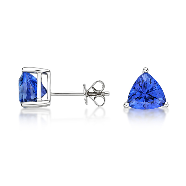 tanzanite and earrings trillion stud halo gold diamond white