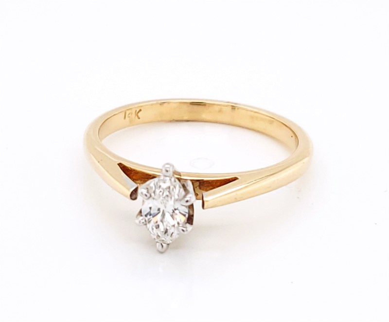 Engagement Ring - Two-Tone 14K Cathedral Engagement Ring With One 0.32Ct Marquise H Si1 Diamond