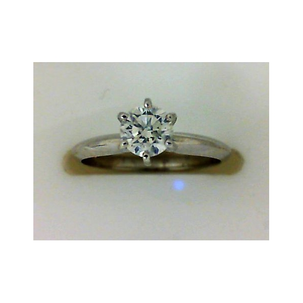 Engagement Ring - White 14K Tiffany Engagement Ring With One 0.50Ct Round E Si1 Diamond
