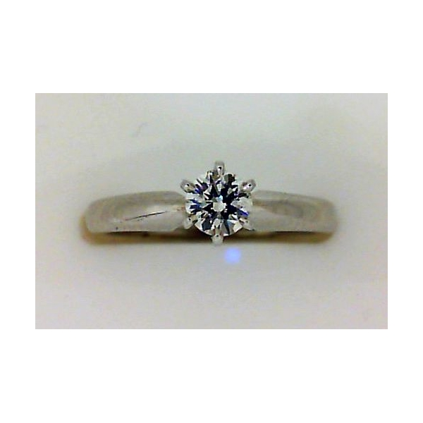 Engagement Ring - White 14K Tiffany Engagement Ring With One 0.28Ct Round H Si1 Diamond
