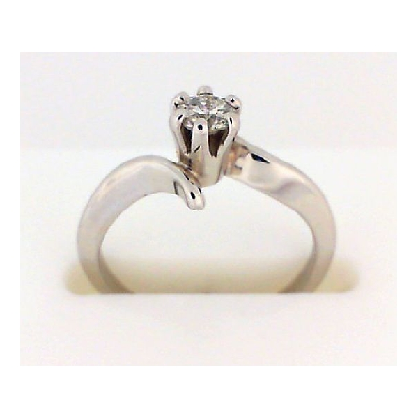 Engagement Ring - Lady's White 14K Bypass Solitaire Eng Ring With One 0.22Ct Rnd I I1 Dia
