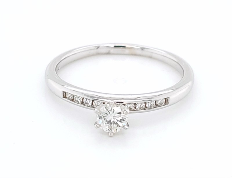 Engagement Ring - White 14K Engagement Ring With One 0.28Ct Round H Si1 Diamond And 0.08Tw Round H Si1 Diamonds