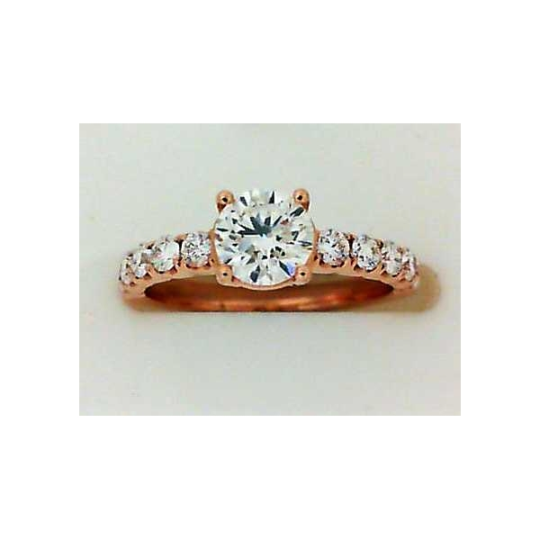 Engagement Ring - Rose Gold 18K Engagement Ring With One 0.70Ct Round G Fm Dia And 0.44Tw Round Diamonds Notes: FM180 Inscr:1093077