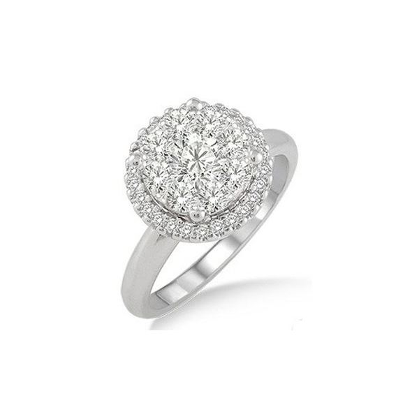 Engagement Ring - White 14K Lovebright Halo Engagement Ring With 0.75Tw Round H/I Si3 Diamonds