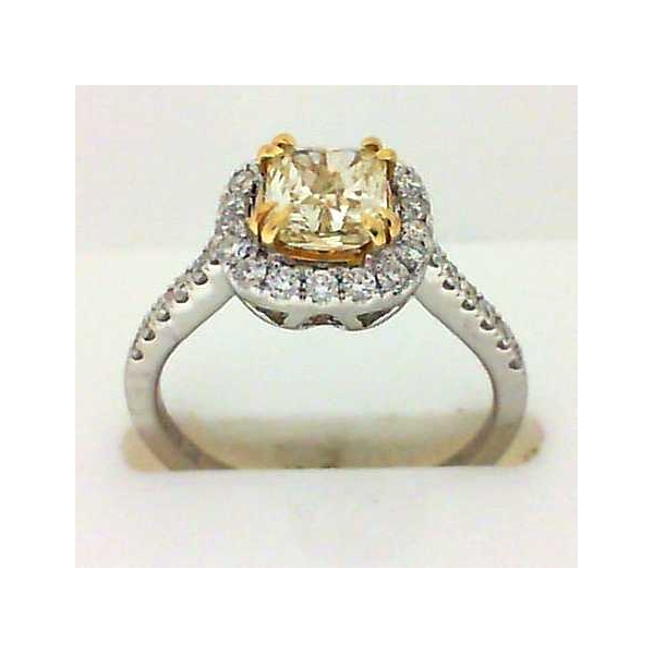 Engagement Ring - White 18K Halo Eng Ring With One 1.04Ct Radiant VS2 FLY Fm Dia And 0.40Tw Rnd Dias FM293  Inscr: 7800266