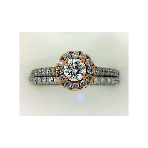Engagement Ring - Rose And White 14K Halo Set Engagement Ring With 0.99Tw Round Diamonds