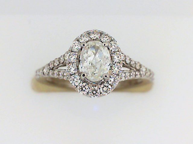 Engagement Ring - White 14K Halo Engagement Ring With One 0.41Ct Oval Diamond And 0.48Tw Round Diamonds