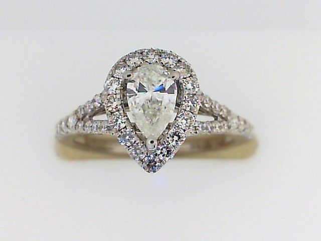 Engagement Ring - White 14K Halo Engagement Ring With One 0.40Ct Pear Diamond And 0.49Tw Round Diamonds