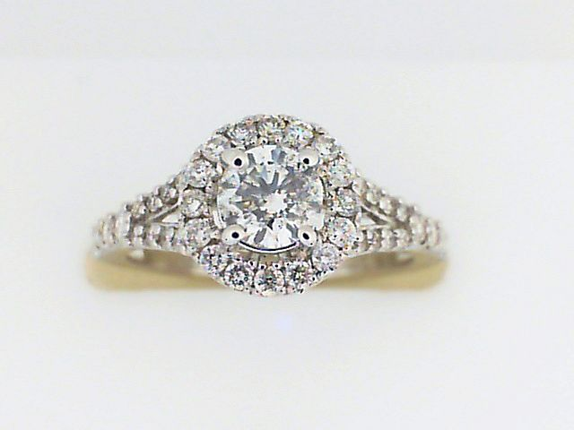 Engagement Ring - White 14K Halo Engagement Ring With One 0.37Ct Round Diamond And 0.44Tw Round Diamonds