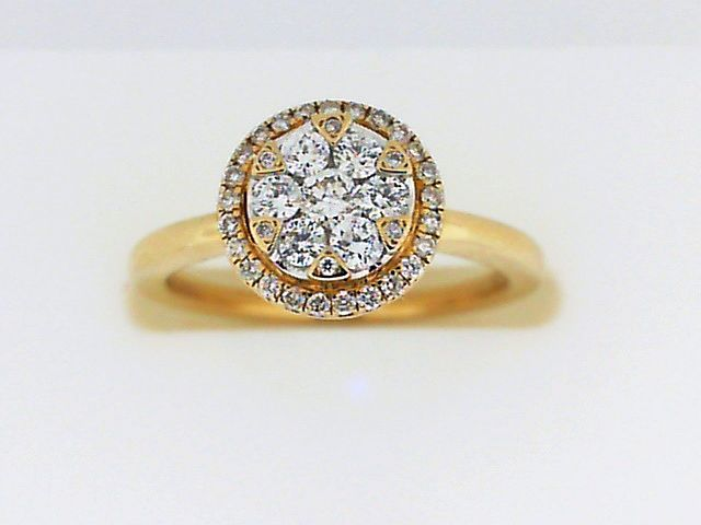 Engagement Ring - Yellow 14K Cluster Halo Engagement Ring With 0.37Tw Round Diamonds