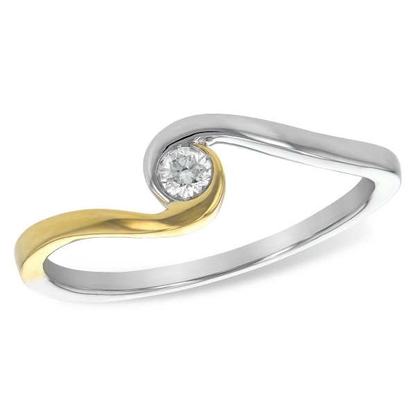 Engagement Ring - Two-Tone 14K Contemporary Engagement Ring With One 0.07Ct Round Diamond