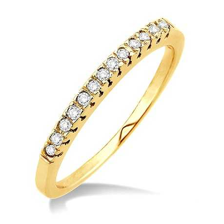 Wedding Band - Yellow 14K Wedding Band With 0.10Tw Round K/L I1 Diamonds
