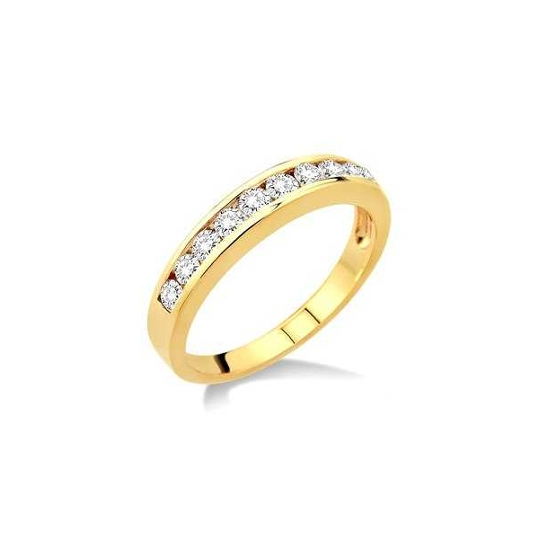 Wedding Band - Yellow 14K Wedding Band With 0.10Tw Round K/L I Diamonds