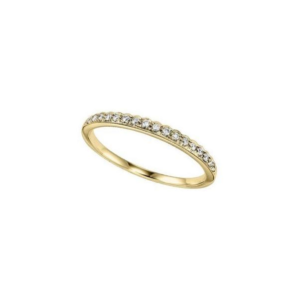 Wedding Band - Yellow 14K Milgrained Wedding Band With 0.12Tw Round Diamonds