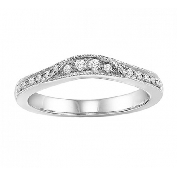 Wedding Band - White 14K Milgrained Curved Wedding Band With 0.16Tw Round Diamonds
